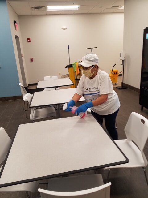 image of woman cleaning table for sonshine carpet cleaning